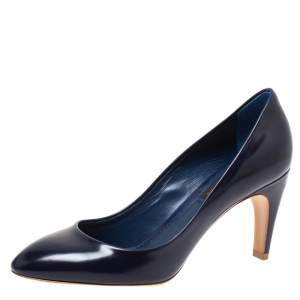 Louis Vuitton Navy Blue Leather Curved Heel Pumps Size 36