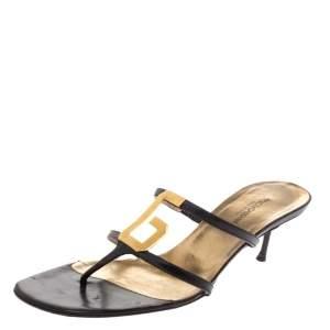 Dolce And Gabbana Black Leather D&G Metal Logo Embellished Thong Kitten Heel Sandals Size 40.5