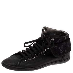 Louis Vuitton Black Leather and Monogram Shimmery Canvas Brea Sneaker Boots Size 38