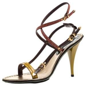 Louis Vuitton Multicolor Croc Leather Buckle Detail Strappy Sandals Size 39