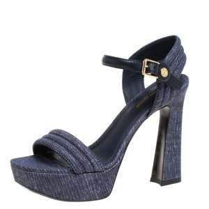 Louis Vuitton Blue Denim Ankle Strap Platform Sandals Size 36