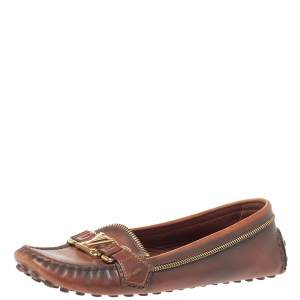 Louis Vuitton Ombre Brown Leather Oxford Zip Detail Loafers Size 39.5
