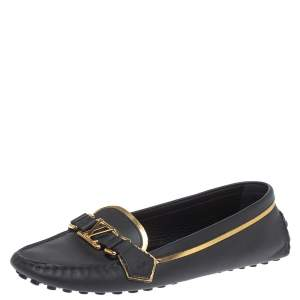 Louis Vuitton Black Leather Oxford Loafers Size 39.5