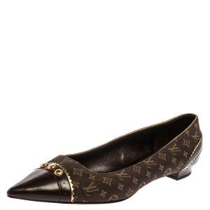 Louis Vuitton Brown LV Monogram Canvas Pointed Toe Flats Size 40