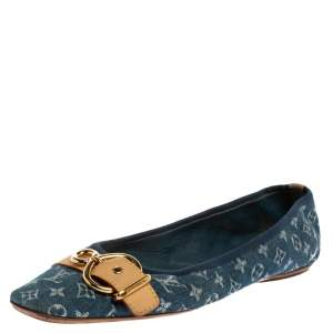 Louis Vuitton Blue Denim Fabric Buckle Detail Ballet Flats Size 40
