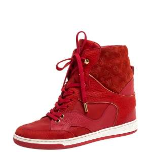Louis Vuitton Red Suede Monogram Millenium Wedge Sneakers Size 36