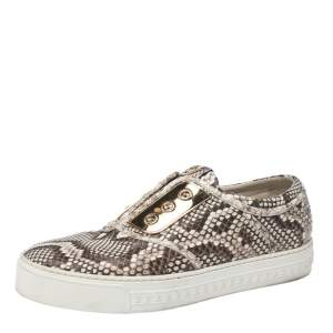 Louis Vuitton Beige/Brown Python Leather Slip On Sneakers Size 39