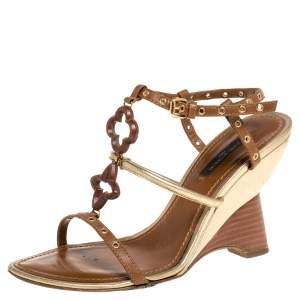 Louis Vuitton Brown/Gold Leather Andalucia Wedge Sandals Size 36.5