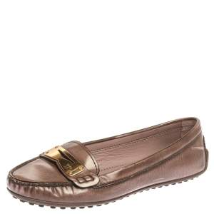 Louis Vuitton Metallic Brown Patent Leather Penny Loafers Size 37