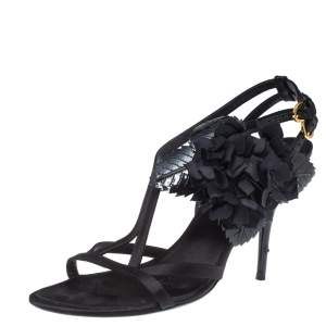 Louis Vuitton Black Satin And Patent Leather Flower Embellished Ankle Strap Sandal Size 39.5