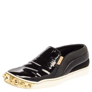 Louis Vuitton Black Patent Leather And Leather Gold Studded Tempo Slip On Sneakers Size 36