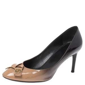 Louis Vuitton Beige/Black Ombre Patent Leather Bow Fiance Pumps Size 36.5