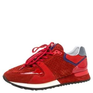 Louis Vuitton Red Perforated Suede And Patent Leather Run Away Low Top Sneakers Size 39