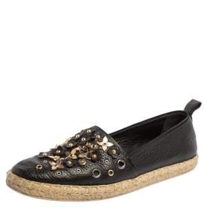 Louis Vuitton Black Leather Flower Embellished Espadrilles Slip On Loafers Size 40