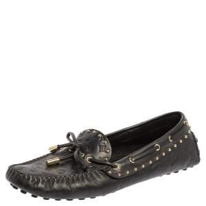 حذاء لوفرز لوي فيتون غلوريا مرصع و دلاية جلد مطبوع مونوغرامي أسود مقاس 38