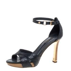 Louis Vuitton Blue Infini Monogram Empreinte Leather Ankle Strap Sandals Size 37