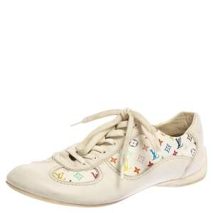Louis Vuitton White Leather And Multicolor Monogram Canvas Lace Up Sneakers Size 38
