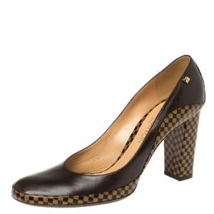 Louis Vuitton Brown Damier Canvas and Leather Vintage Round Toe Pumps Size 39