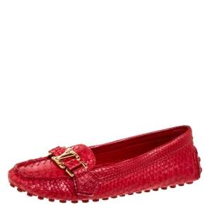 Louis Vuitton Red Python Leather Loafers Size 35