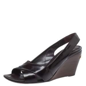 Louis Vuitton Burgundy Patent Leather Amarante Wedge Slingback Sandals Size 38.5