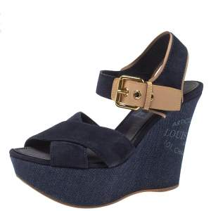 Louis Vuitton Blue Suede And Denim Wedge Sandals Size 36.5