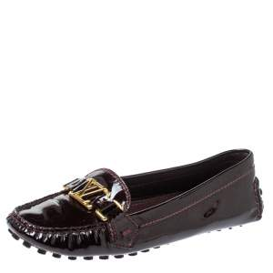 Louis Vuitton Amarante Patent Leather Oxford Loafers Size 38