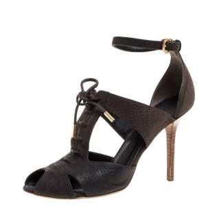 Louis Vuitton Moka Pebbled Leather Corfu Caged Sandals Size 38.5