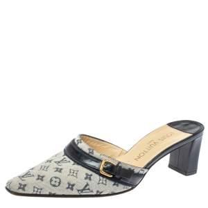 Louis Vuitton Mini Lin Bordeaux Fabric & Leather Pointy Mules Size 35.5