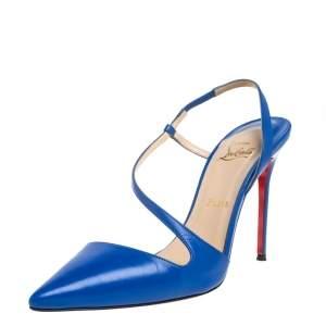 Christian Louboutin Blue Leather June Slingback Sandals Size 39.5