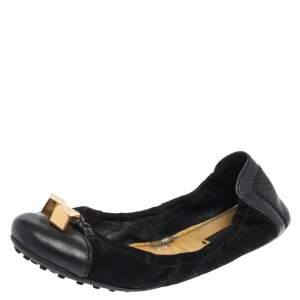 Louis Vuitton Black  Suede And Leather Dice Scrunch Ballet Flats Size 38