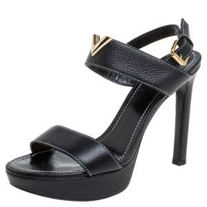 Louis Vuitton Black Leather Platform Ankle Strap Sandals Size 38.5