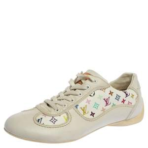 Louis Vuitton White Leather And Multicolor Monogram Canvas Lace Up Sneakers Size 34