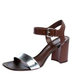 Louis Vuitton Silver/Brown Monogram Canvas and Leather Silhouette Sandals Size 39.5
