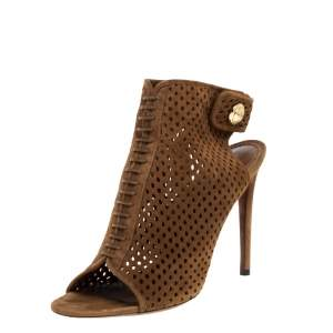 Louis Vuitton Brown Perforated Suede Leather Open Toe Ankle Booties Size 39