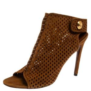 Louis Vuitton Brown Suede Perforated Leather Open Toe Sandals Size 37.5