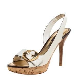 Louis Vuitton White Leather Buckle Cork Platform Slingback Sandals Size 36