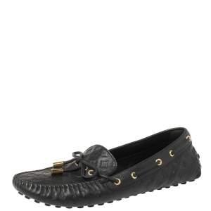 Louis Vuitton Black Monogram Empreinte Leather Gloria Flat Loafers Size 40