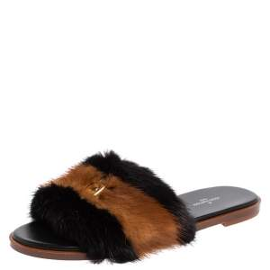 Louis Vuitton Brown/Black Mink Fur Lock It Slides Size 38