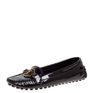حذاء لوفرز لوي فيتون داوفين جلد لامع عنابي مقاس 37.5