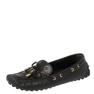 Louis Vuitton Black Monogram Leather Gloria Flat Loafers Size 37