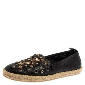Louis Vuitton Black Leather Tropical Bloom Espadrille Size 37