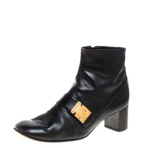 Louis Vuitton Black Leather Zip Ankle Boots Size 39.5