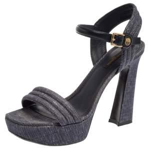 Louis Vuitton Blue Denim Ankle Strap Platform Sandals Size 38