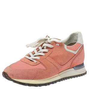 Louis Vuitton Peach Suede and Mesh Lace Up Sneakers Size 37