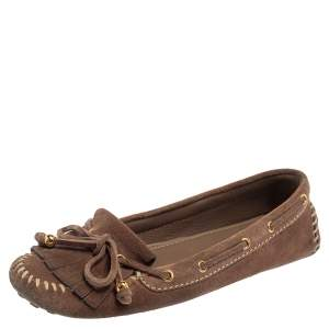 Louis Vuitton Brown Suede Bow Fringe Loafers Size 37