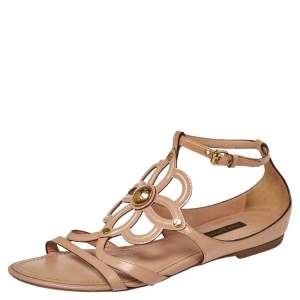 Louis Vuitton Beige Patent Leather Cutout Gloss Flat Sandals Size 37