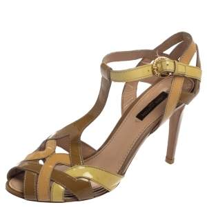 Louis Vuitton Tricolor Patent Leather Ankle Strap Sandals Size 38.5