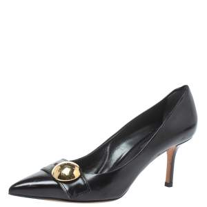 Louis Vuitton Black Leather Pointed Toe Pumps Size 36.5