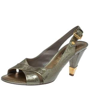 Louis Vuitton Grey Monogram Patent Leather No Doubt! Slingback Sandals Size 37