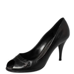 Louis Vuitton Black Leather Peep Toe Pumps Size 38.5